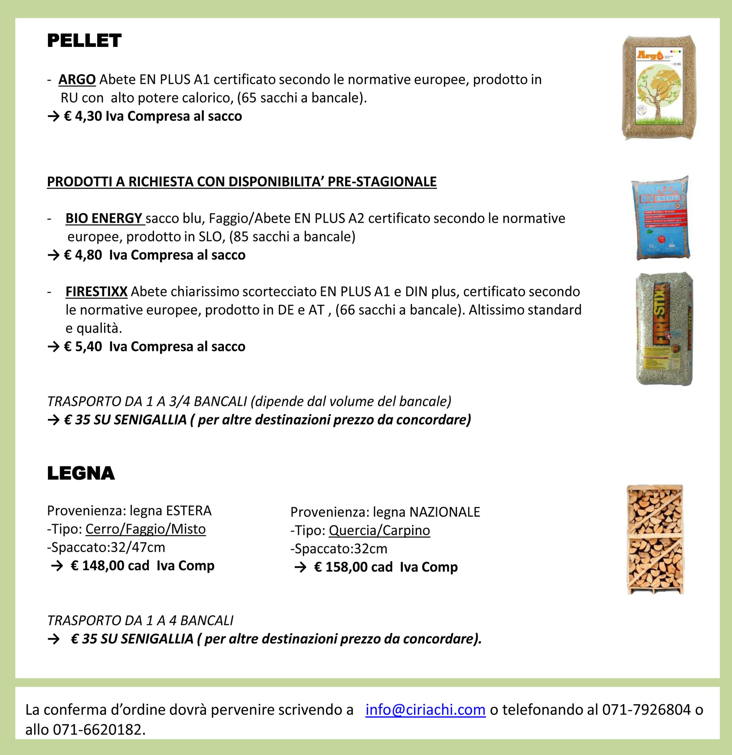 OFFERTA PELLET E LEGNA - Ciriachi - Soluzioni per l ...